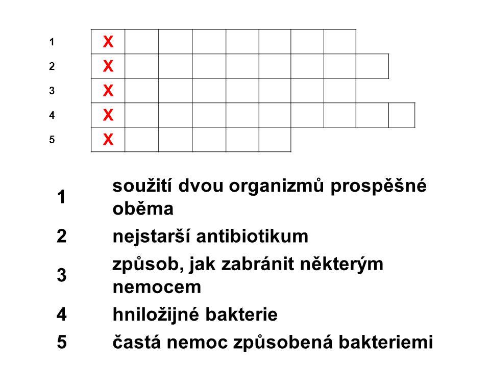 1 X 2 X 3 X 4 X 5 X 1 soužití dvou organizmů prospěšné oběma 2nejstarší antibiotikum 3 způsob, jak zabránit některým nemocem 4hniložijné bakterie 5častá nemoc způsobená bakteriemi