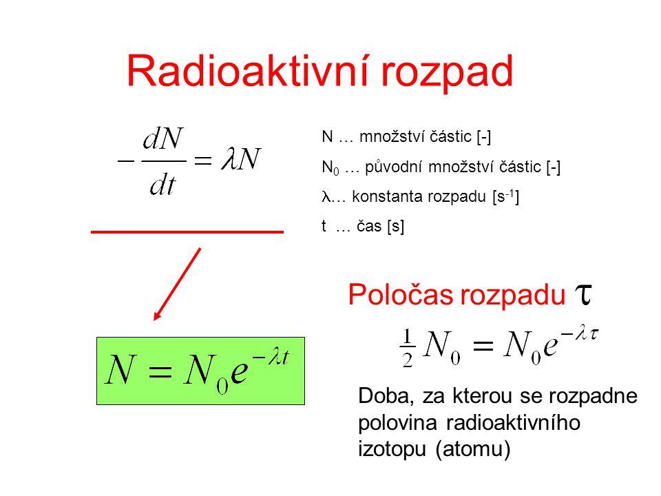 Radioaktivní rozpad N … množství částic [-] N 0 … původní množství částic [-] … konstanta rozpadu [s -1 ] t … čas [s] Poločas rozpadu  Doba, za ktero