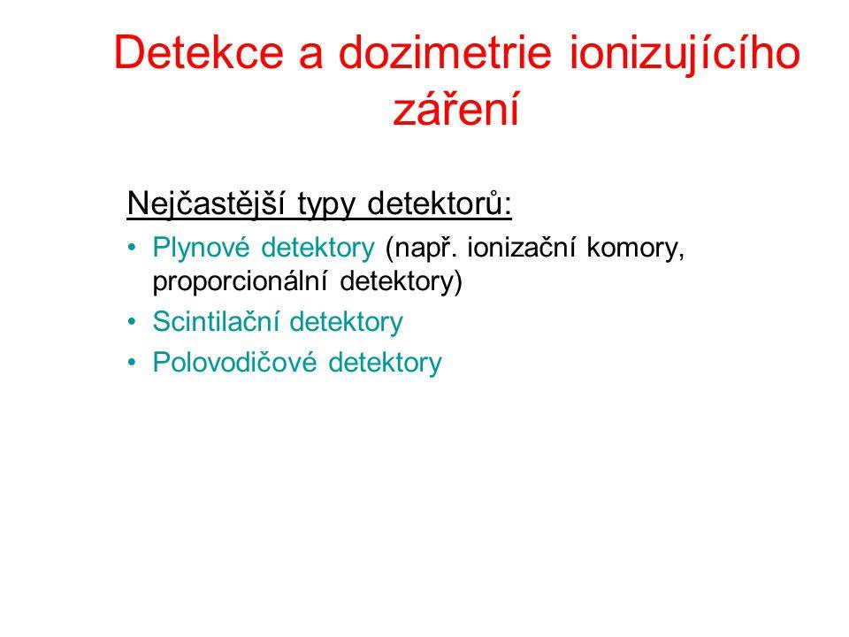 Detekce a dozimetrie ionizujícího záření Nejčastější typy detektorů: Plynové detektory (např. ionizační komory, proporcionální detektory) Scintilační
