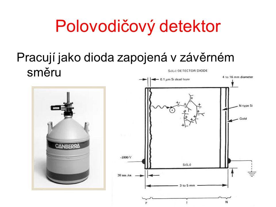 Polovodičový detektor Pracují jako dioda zapojená v závěrném směru