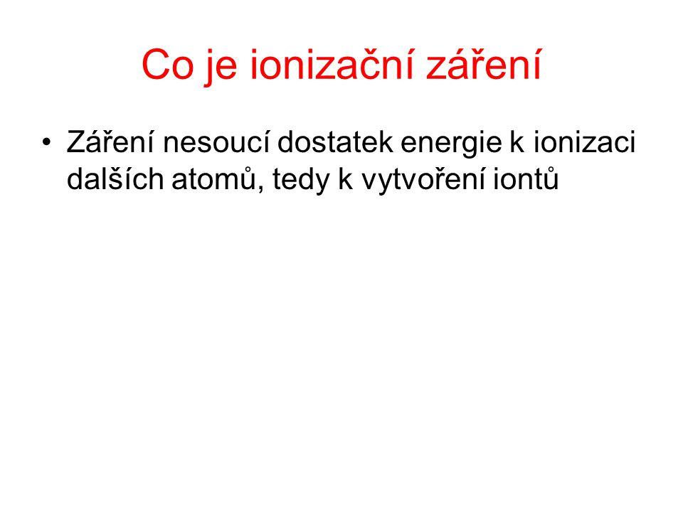 Co je ionizační záření Záření nesoucí dostatek energie k ionizaci dalších atomů, tedy k vytvoření iontů