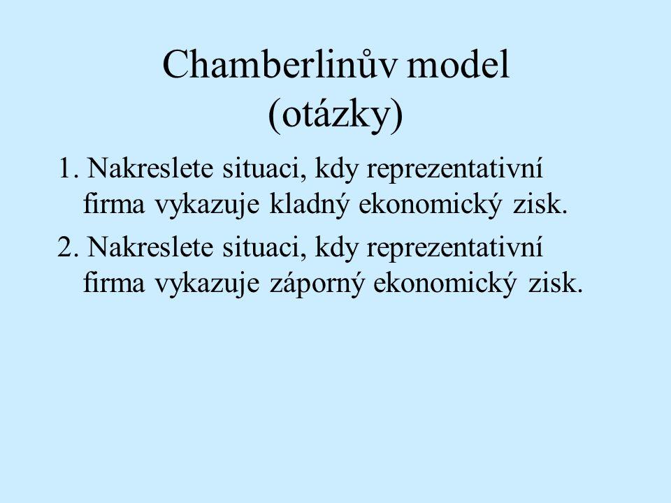 Chamberlinův model (otázky) 1. Nakreslete situaci, kdy reprezentativní firma vykazuje kladný ekonomický zisk. 2. Nakreslete situaci, kdy reprezentativ
