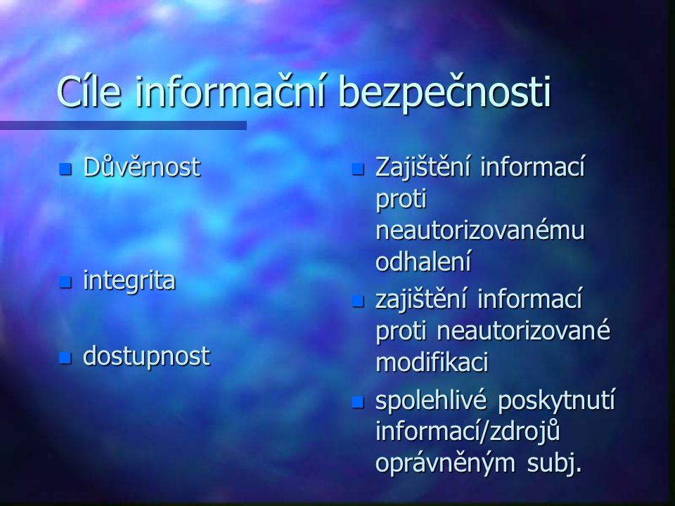 Cíle informační bezpečnosti n Důvěrnost n integrita n dostupnost n Zajištění informací proti neautorizovanému odhalení n zajištění informací proti neautorizované modifikaci n spolehlivé poskytnutí informací/zdrojů oprávněným subj.