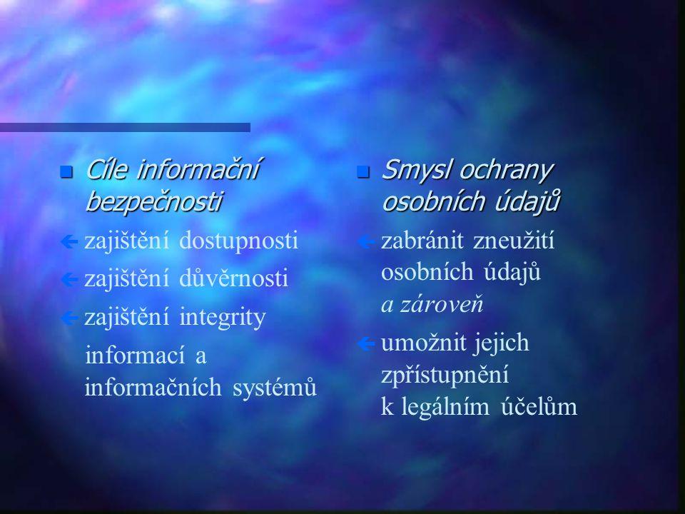 n Cíle informační bezpečnosti ç ç zajištění dostupnosti ç ç zajištění důvěrnosti ç ç zajištění integrity informací a informačních systémů n Smysl ochrany osobních údajů ç zabránit zneužití osobních údajů a zároveň ç umožnit jejich zpřístupnění k legálním účelům