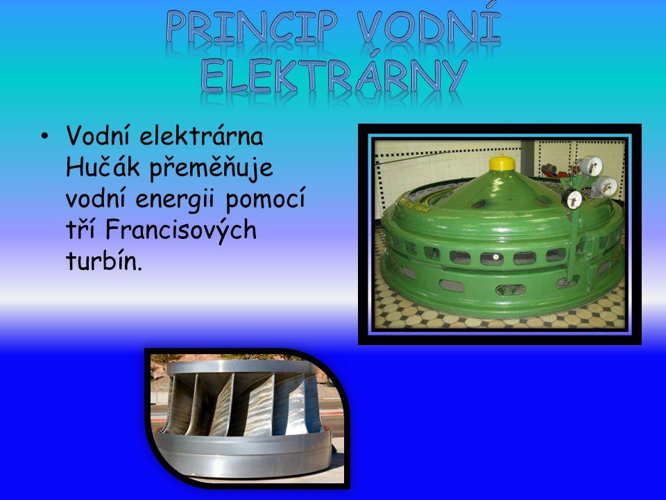 Vodní elektrárna Hučák přeměňuje vodní energii pomocí tří Francisových turbín.