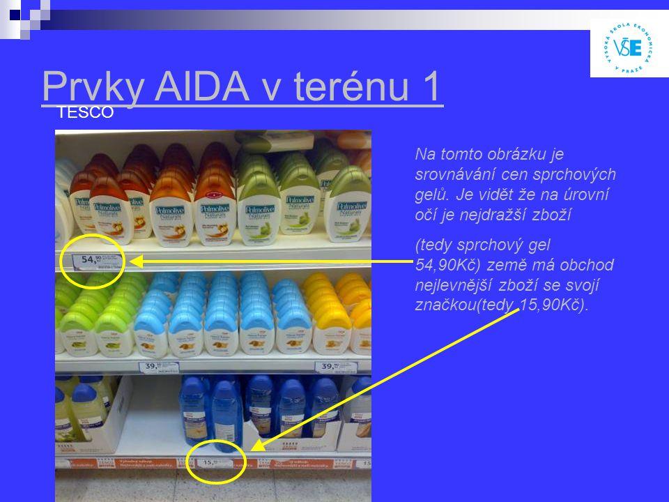 Prvky AIDA v terénu 1 TESCO Na tomto obrázku je srovnávání cen sprchových gelů.