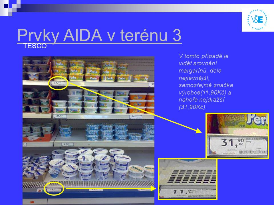 Prvky AIDA v terénu 3 TESCO V tomto případě je vidět srovnání margarínů, dole nejlevnější, samozřejmě značka výrobce(11,90Kč) a nahoře nejdražší (31,90Kč).