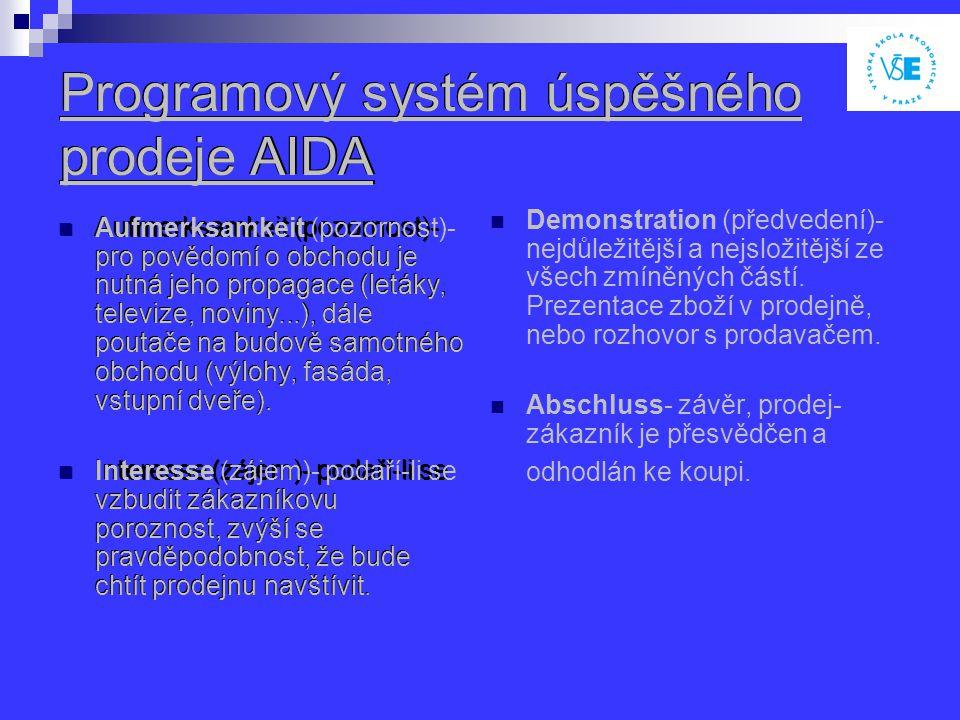 Programový systém úspěšného prodeje AIDA Aufmerksamkeit (pozornost)- pro povědomí o obchodu je nutná jeho propagace (letáky, televize, noviny...), dále poutače na budově samotného obchodu (výlohy, fasáda, vstupní dveře).