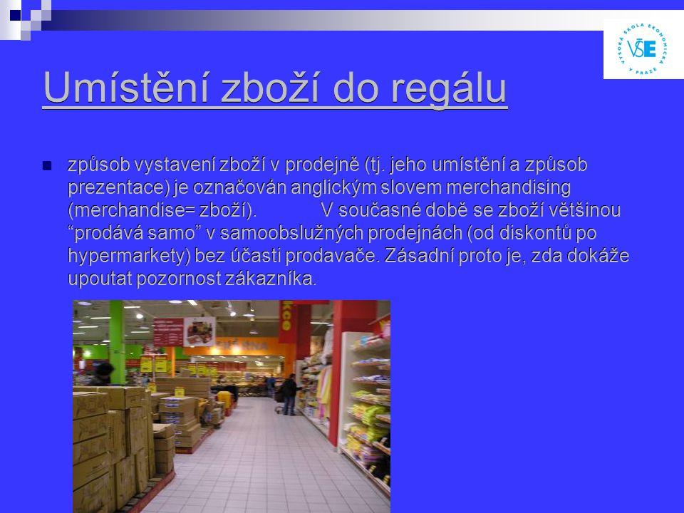 Umístění zboží do regálu způsob vystavení zboží v prodejně (tj.