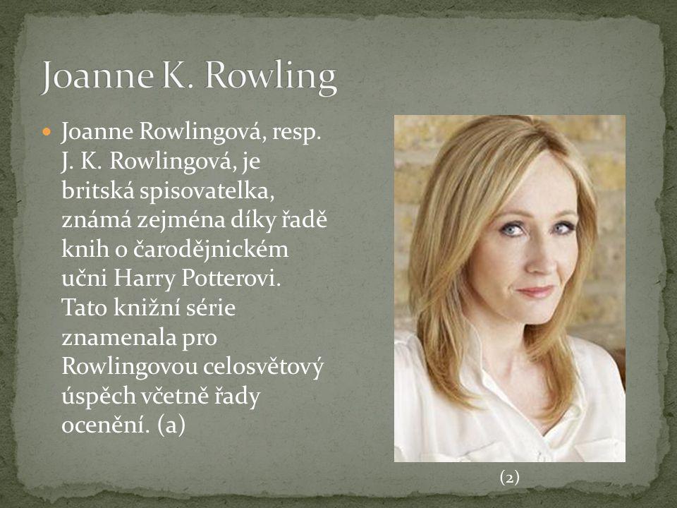 Joanne Rowlingová, resp. J. K. Rowlingová, je britská spisovatelka, známá zejména díky řadě knih o čarodějnickém učni Harry Potterovi. Tato knižní sér