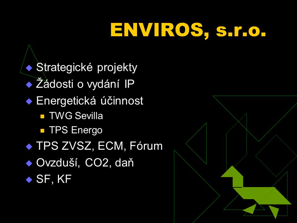 ENVIROS, s.r.o.  Strategické projekty  Žádosti o vydání IP  Energetická účinnost TWG Sevilla TPS Energo  TPS ZVSZ, ECM, Fórum  Ovzduší, CO2, daň