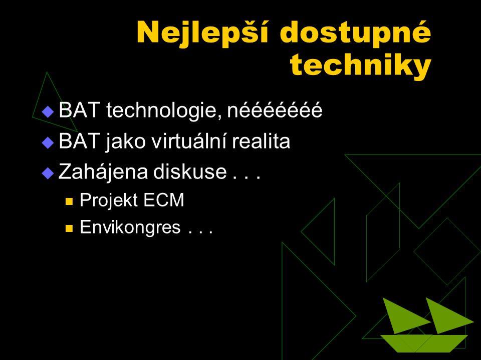 Nejlepší dostupné techniky  BAT technologie, nééééééé  BAT jako virtuální realita  Zahájena diskuse... Projekt ECM Envikongres...