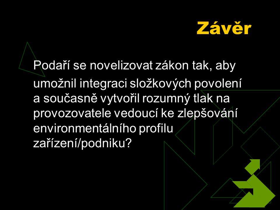 Závěr Podaří se novelizovat zákon tak, aby umožnil integraci složkových povolení a současně vytvořil rozumný tlak na provozovatele vedoucí ke zlepšování environmentálního profilu zařízení/podniku
