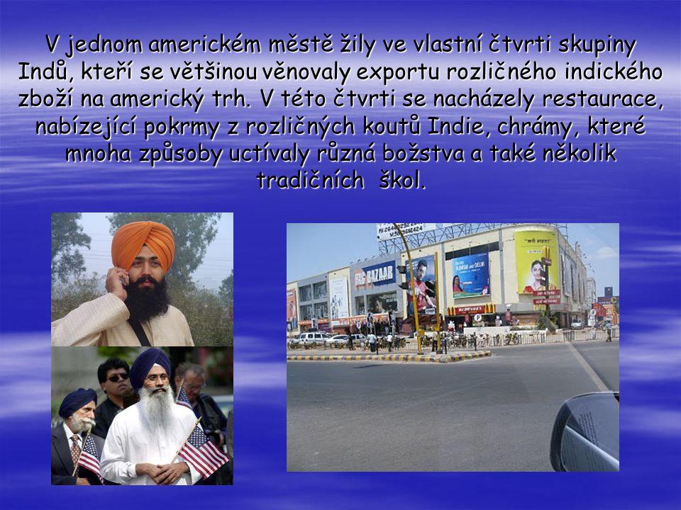 V jednom americkém městě žily ve vlastní čtvrti skupiny Indů, kteří se většinou věnovaly exportu rozličného indického zboží na americký trh.