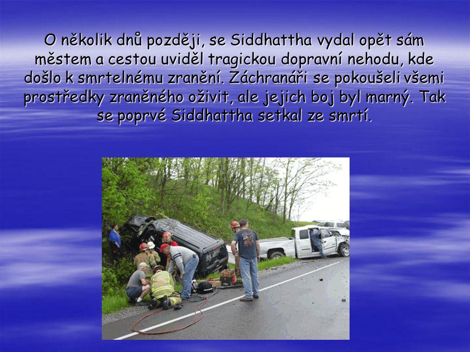 O několik dnů později, se Siddhattha vydal opět sám městem a cestou uviděl tragickou dopravní nehodu, kde došlo k smrtelnému zranění.