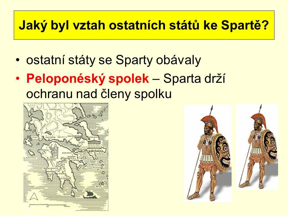 ostatní státy se Sparty obávaly Peloponéský spolek – Sparta drží ochranu nad členy spolku Jaký byl vztah ostatních států ke Spartě?