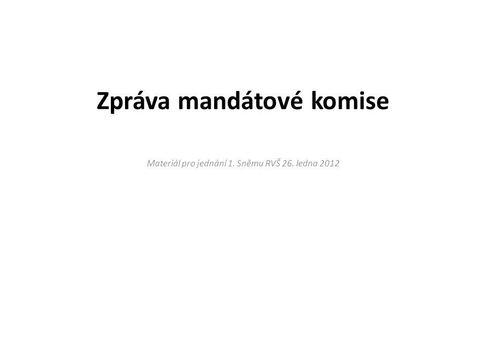 Zpráva mandátové komise Materiál pro jednání 1. Sněmu RVŠ 26. ledna 2012