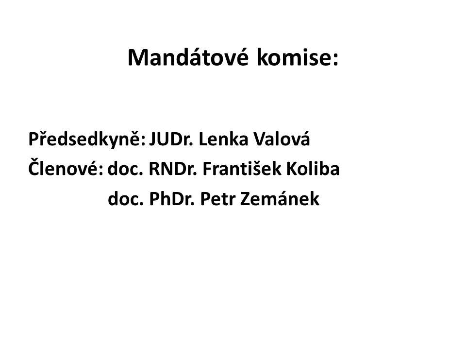 Mandátové komise: Předsedkyně: JUDr. Lenka Valová Členové: doc.