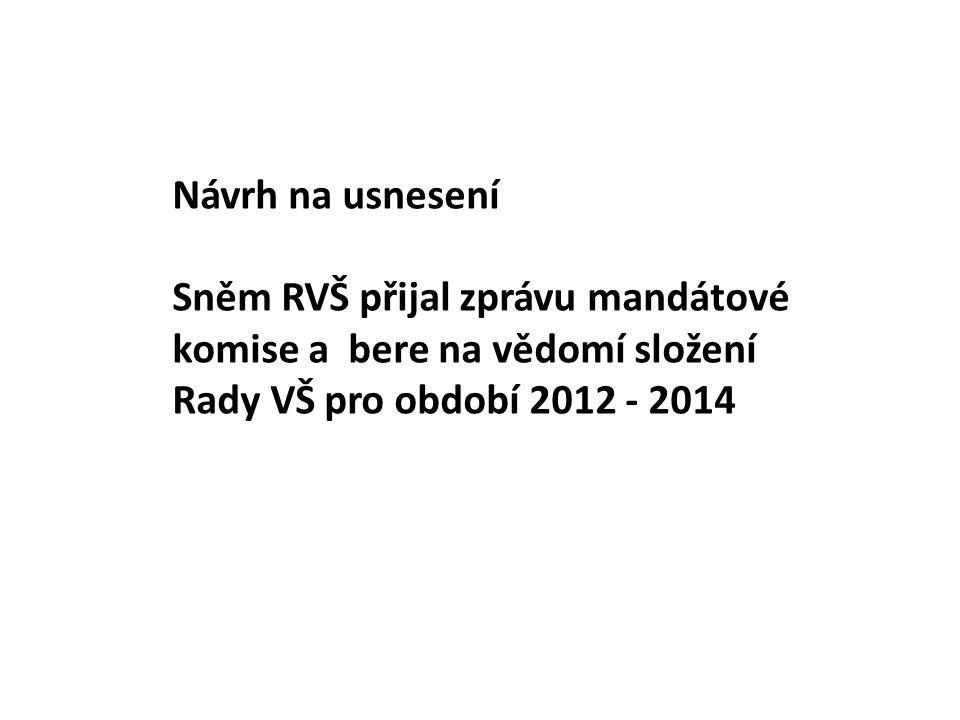 Návrh na usnesení Sněm RVŠ přijal zprávu mandátové komise a bere na vědomí složení Rady VŠ pro období 2012 - 2014