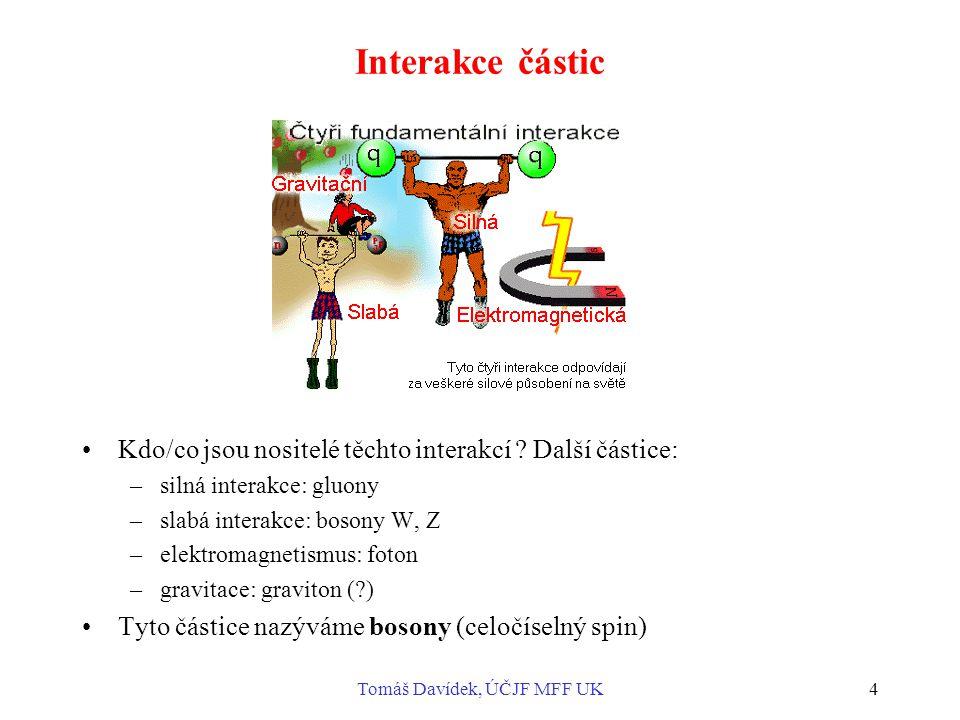 Tomáš Davídek, ÚČJF MFF UK4 Interakce částic Kdo/co jsou nositelé těchto interakcí .