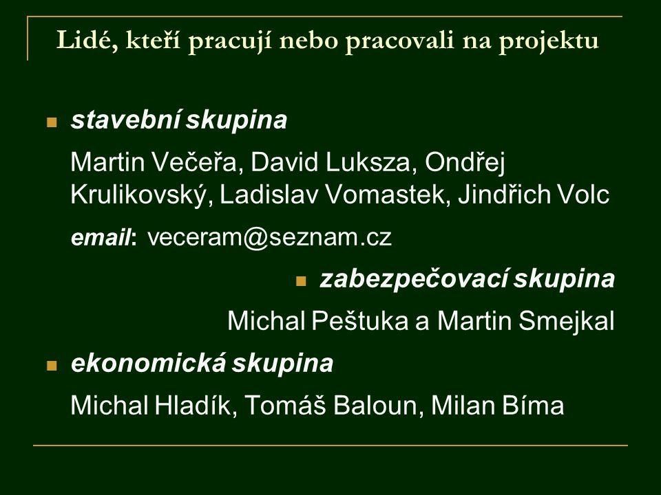 Lidé, kteří pracují nebo pracovali na projektu stavební skupina Martin Večeřa, David Luksza, Ondřej Krulikovský, Ladislav Vomastek, Jindřich Volc emai