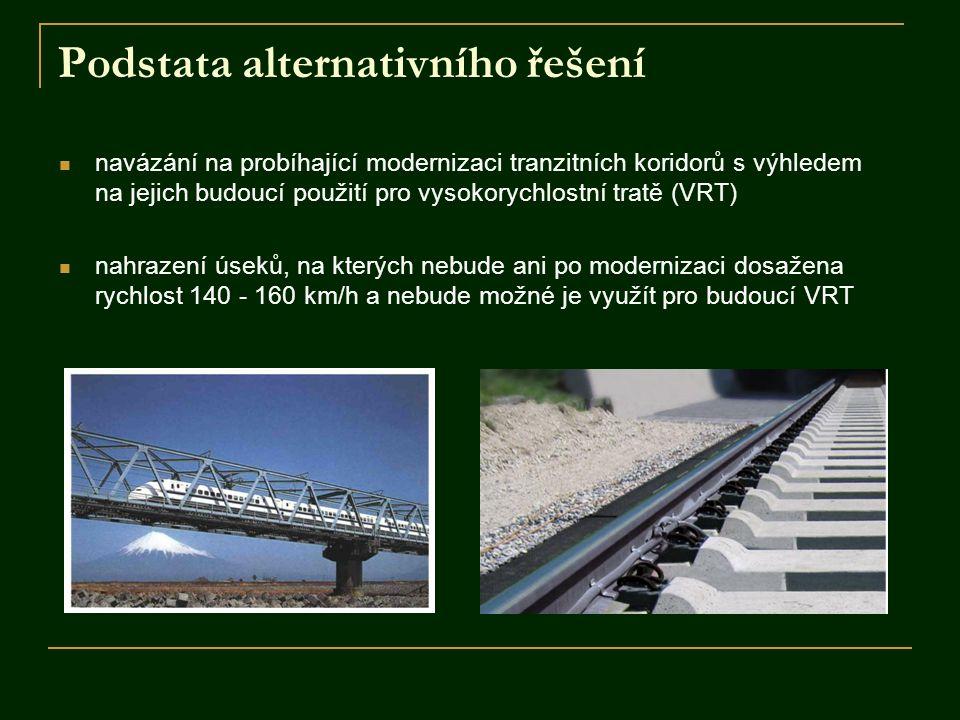 Podstata alternativního řešení navázání na probíhající modernizaci tranzitních koridorů s výhledem na jejich budoucí použití pro vysokorychlostní trat