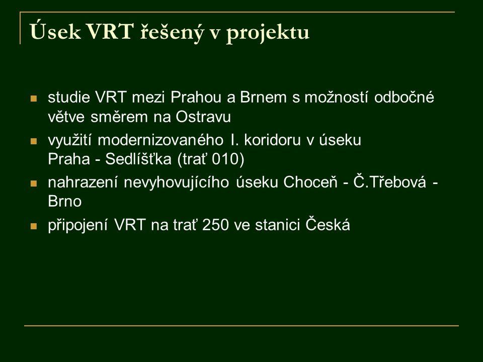 Úsek VRT řešený v projektu studie VRT mezi Prahou a Brnem s možností odbočné větve směrem na Ostravu využití modernizovaného I. koridoru v úseku Praha