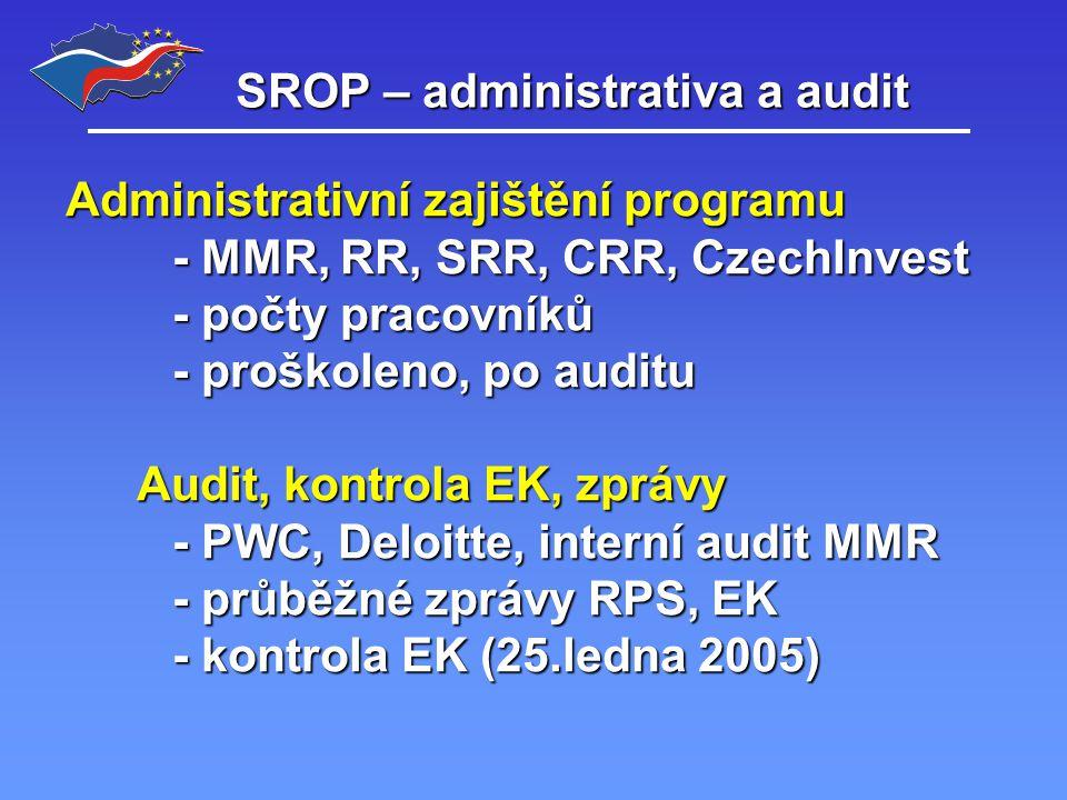 SROP – administrativa a audit Administrativní zajištění programu - MMR, RR, SRR, CRR, CzechInvest - počty pracovníků - proškoleno, po auditu Audit, kontrola EK, zprávy - PWC, Deloitte, interní audit MMR - průběžné zprávy RPS, EK - kontrola EK (25.ledna 2005)