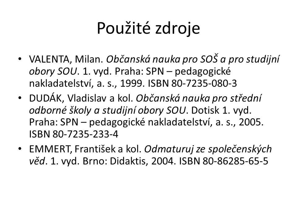 Použité zdroje VALENTA, Milan. Občanská nauka pro SOŠ a pro studijní obory SOU. 1. vyd. Praha: SPN – pedagogické nakladatelství, a. s., 1999. ISBN 80-