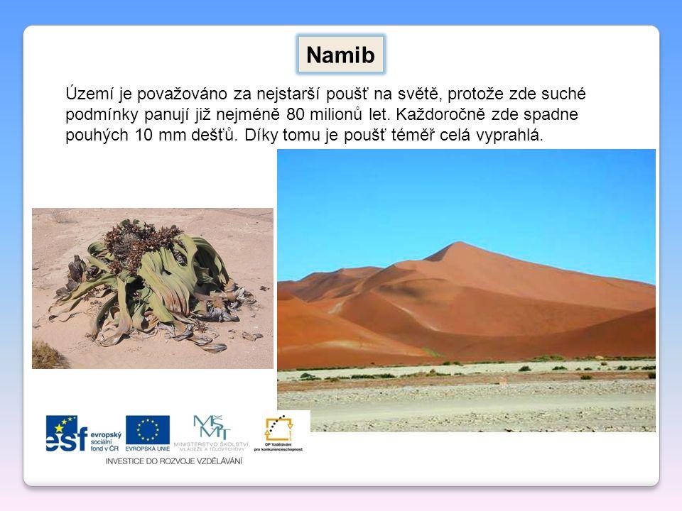 Namib Území je považováno za nejstarší poušť na světě, protože zde suché podmínky panují již nejméně 80 milionů let. Každoročně zde spadne pouhých 10