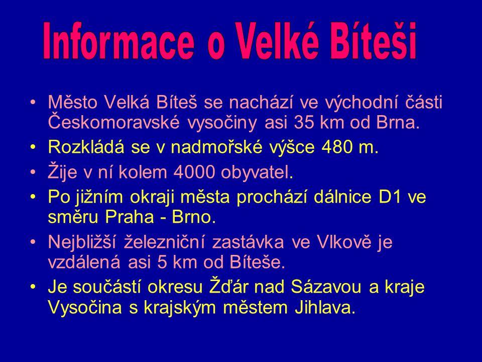 Město Velká Bíteš se nachází ve východní části Českomoravské vysočiny asi 35 km od Brna. Rozkládá se v nadmořské výšce 480 m. Žije v ní kolem 4000 oby