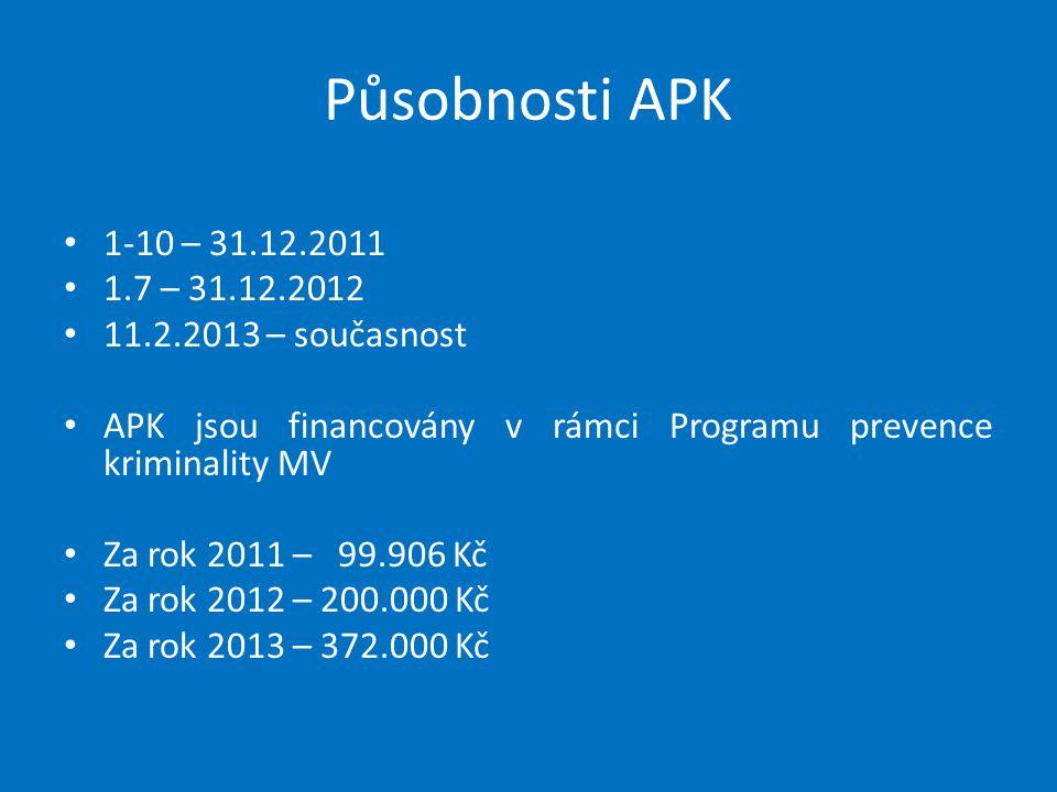 Působnosti APK 1-10 – 31.12.2011 1.7 – 31.12.2012 11.2.2013 – současnost APK jsou financovány v rámci Programu prevence kriminality MV Za rok 2011 – 9