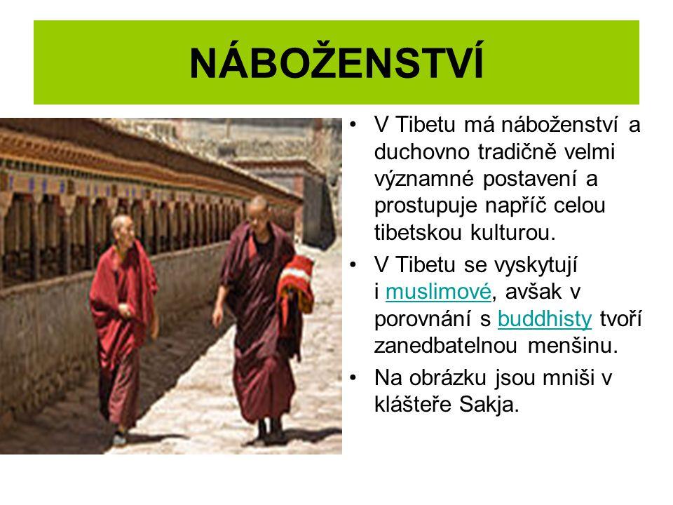 NÁBOŽENSTVÍ V Tibetu má náboženství a duchovno tradičně velmi významné postavení a prostupuje napříč celou tibetskou kulturou. V Tibetu se vyskytují i