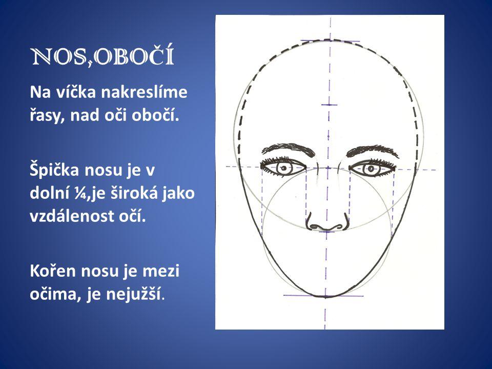 NOS,OBO Č Í Na víčka nakreslíme řasy, nad oči obočí. Špička nosu je v dolní ¼,je široká jako vzdálenost očí. Kořen nosu je mezi očima, je nejužší.