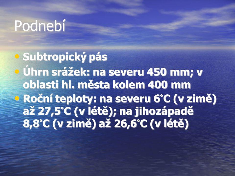 Podnebí Subtropický pás Subtropický pás Úhrn srážek: na severu 450 mm; v oblasti hl. města kolem 400 mm Úhrn srážek: na severu 450 mm; v oblasti hl. m