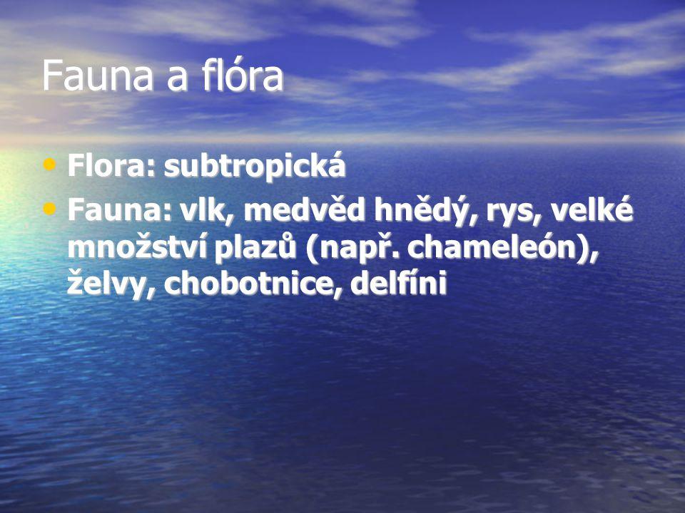 Fauna a flóra Flora: subtropická Flora: subtropická Fauna: vlk, medvěd hnědý, rys, velké množství plazů (např. chameleón), želvy, chobotnice, delfíni