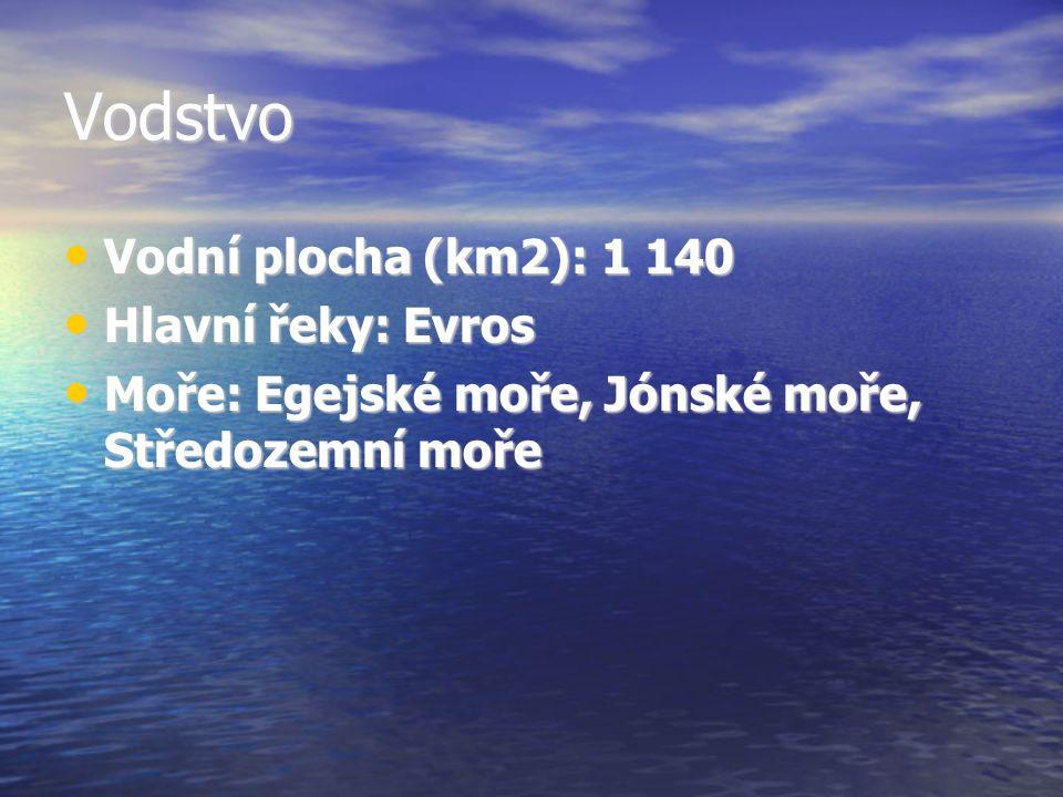 Vodstvo Vodní plocha (km2): 1 140 Vodní plocha (km2): 1 140 Hlavní řeky: Evros Hlavní řeky: Evros Moře: Egejské moře, Jónské moře, Středozemní moře Mo