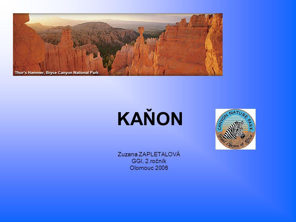 Kaňon = hluboké údolí s velmi strmými svahy se sklonem větším než 45° a s poměrně úzkým dnem, které je zpravidla vyplněno korytem řeky - Profil údolí tvaru ostrého písmena V Podmořský kaňon = relativně úzké a hluboké údolí na dně oceánu