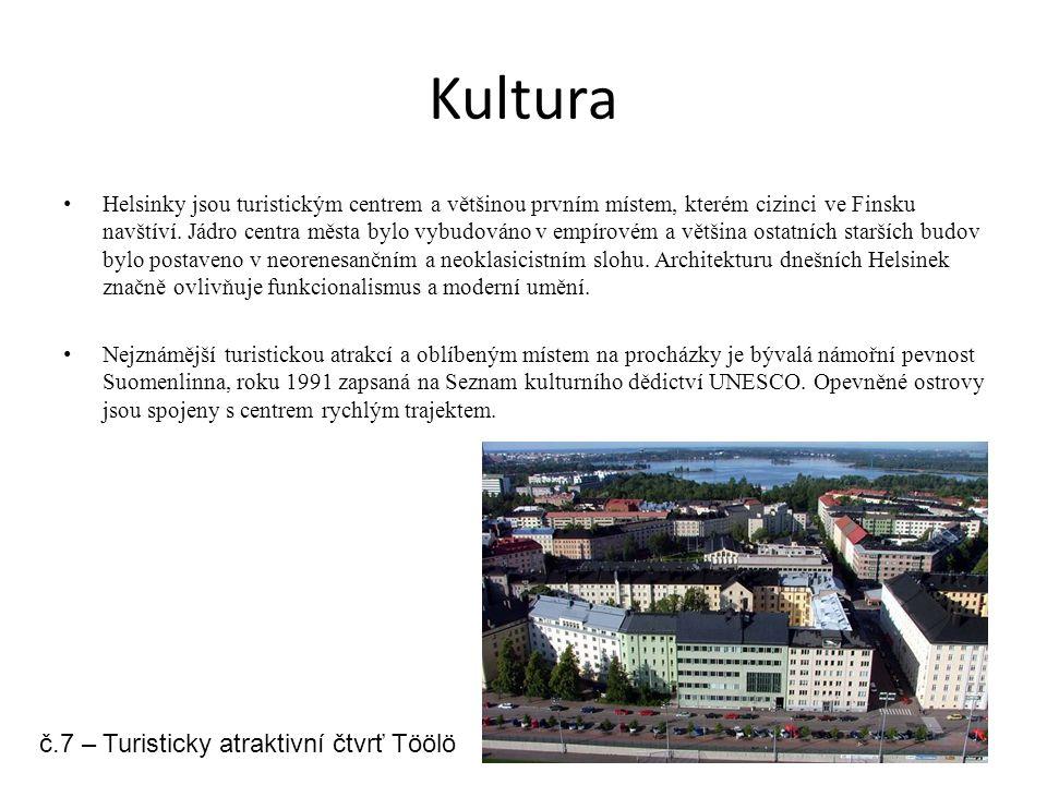 Kultura Helsinky jsou turistickým centrem a většinou prvním místem, kterém cizinci ve Finsku navštíví. Jádro centra města bylo vybudováno v empírovém