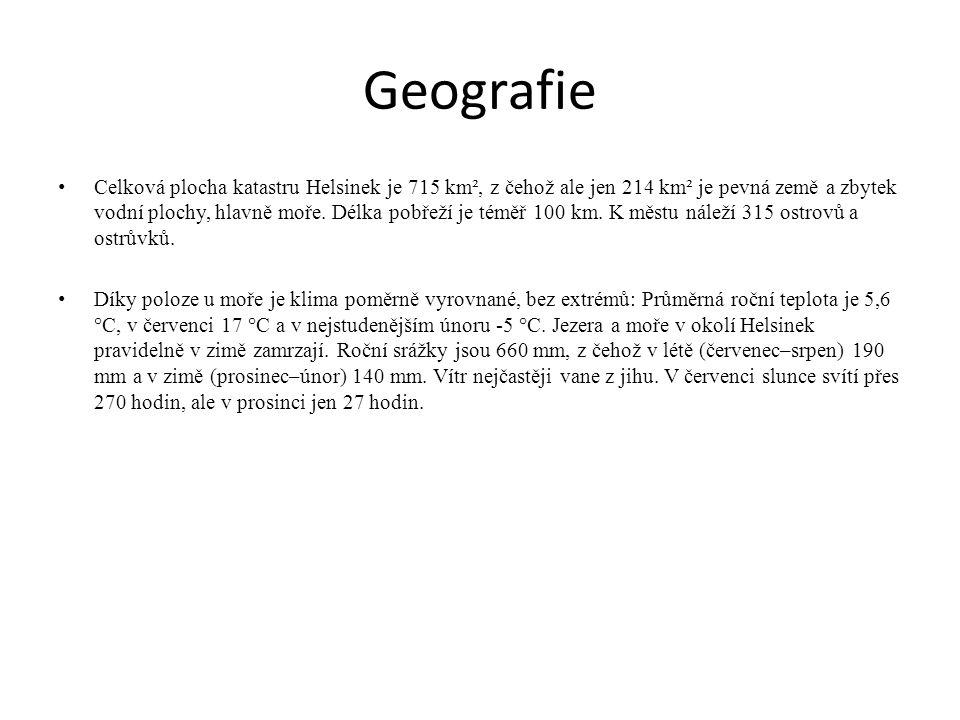 Geografie Celková plocha katastru Helsinek je 715 km², z čehož ale jen 214 km² je pevná země a zbytek vodní plochy, hlavně moře. Délka pobřeží je témě