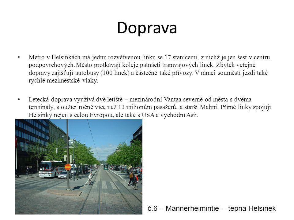Doprava Metro v Helsinkách má jednu rozvětvenou linku se 17 stanicemi, z nichž je jen šest v centru podpovrchových. Město protkávají koleje patnácti t