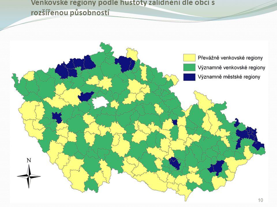 Venkovské regiony podle hustoty zalidnění dle obcí s rozšířenou působností 10