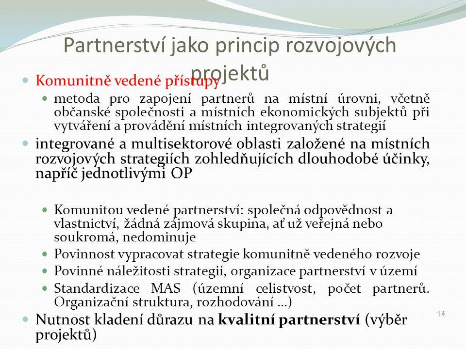 Partnerství jako princip rozvojových projektů Komunitně vedené přístupy metoda pro zapojení partnerů na místní úrovni, včetně občanské společnosti a m