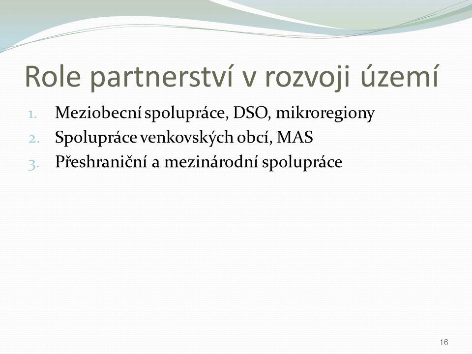 Role partnerství v rozvoji území 1. Meziobecní spolupráce, DSO, mikroregiony 2. Spolupráce venkovských obcí, MAS 3. Přeshraniční a mezinárodní spolupr