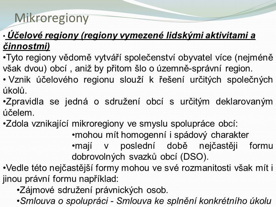 Mikroregiony Účelové regiony (regiony vymezené lidskými aktivitami a činnostmi) Tyto regiony vědomě vytváří společenství obyvatel více (nejméně však d