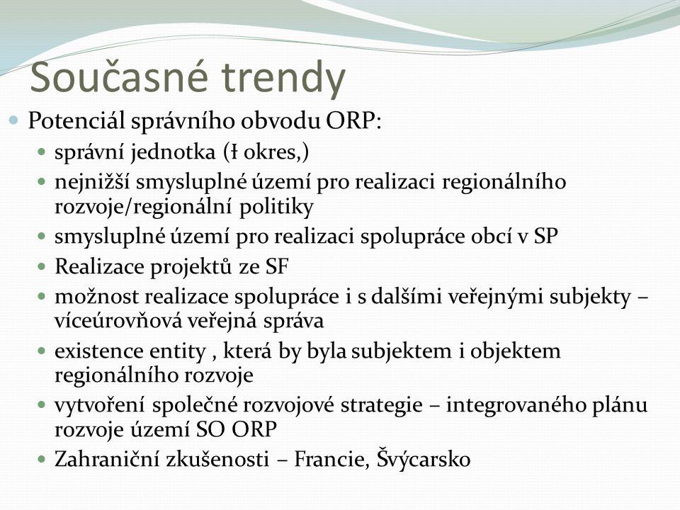 Současné trendy Potenciál správního obvodu ORP: správní jednotka ( Ɨ okres,) nejnižší smysluplné území pro realizaci regionálního rozvoje/regionální p