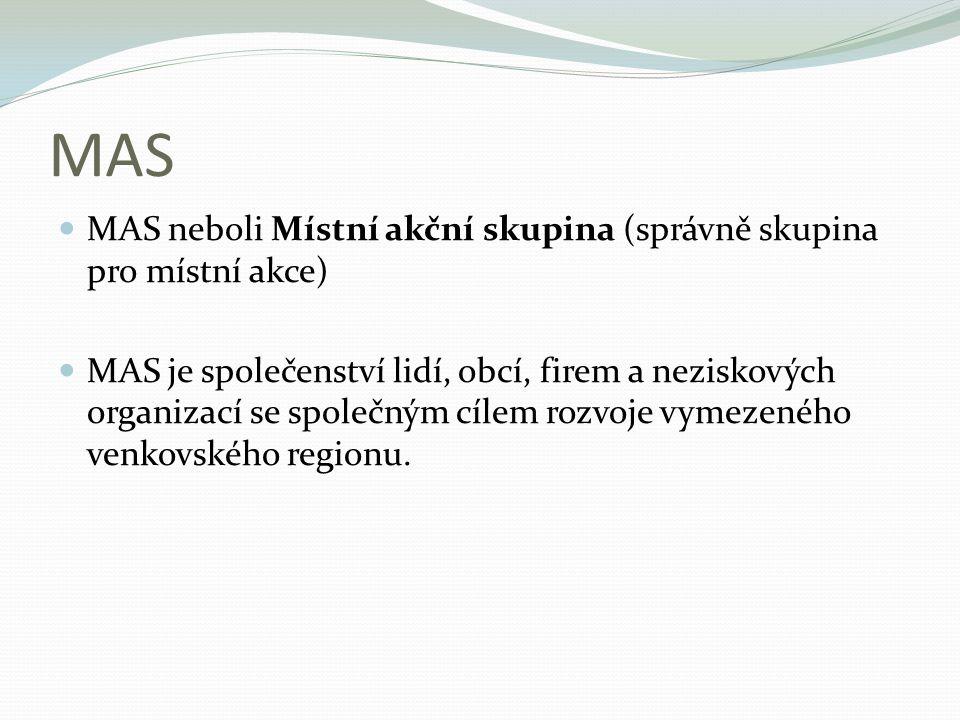 MAS MAS neboli Místní akční skupina (správně skupina pro místní akce) MAS je společenství lidí, obcí, firem a neziskových organizací se společným cíle