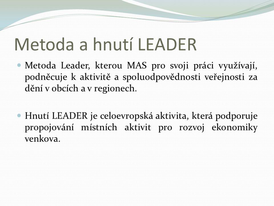 Metoda a hnutí LEADER Metoda Leader, kterou MAS pro svoji práci využívají, podněcuje k aktivitě a spoluodpovědnosti veřejnosti za dění v obcích a v re
