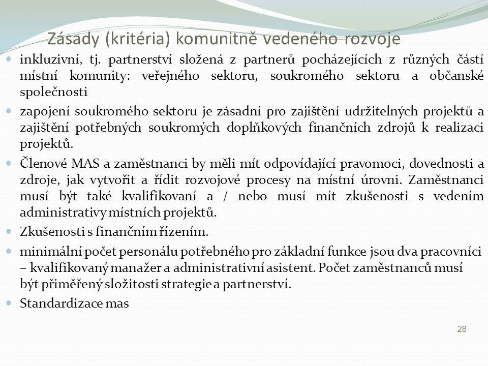 Zásady (kritéria) komunitně vedeného rozvoje inkluzivní, tj. partnerství složená z partnerů pocházejících z různých částí místní komunity: veřejného s
