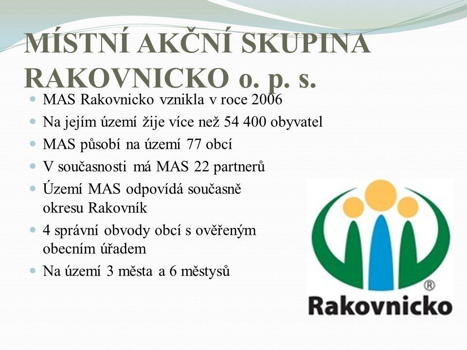 MÍSTNÍ AKČNÍ SKUPINA RAKOVNICKO o. p. s. MAS Rakovnicko vznikla v roce 2006 Na jejím území žije více než 54 400 obyvatel MAS působí na území 77 obcí V